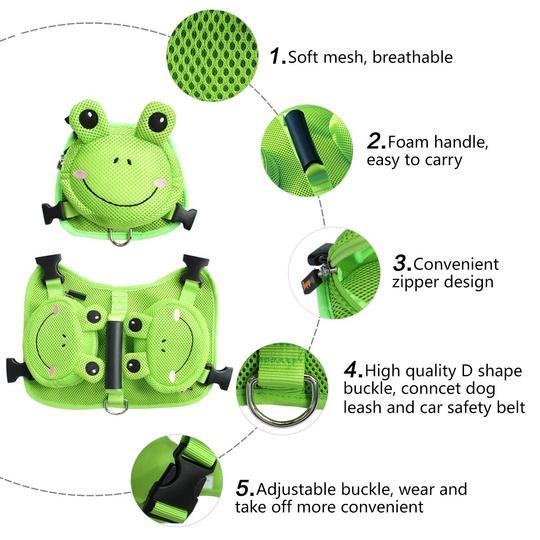 French Bulldog Froggy Dog Backpack Harness Set