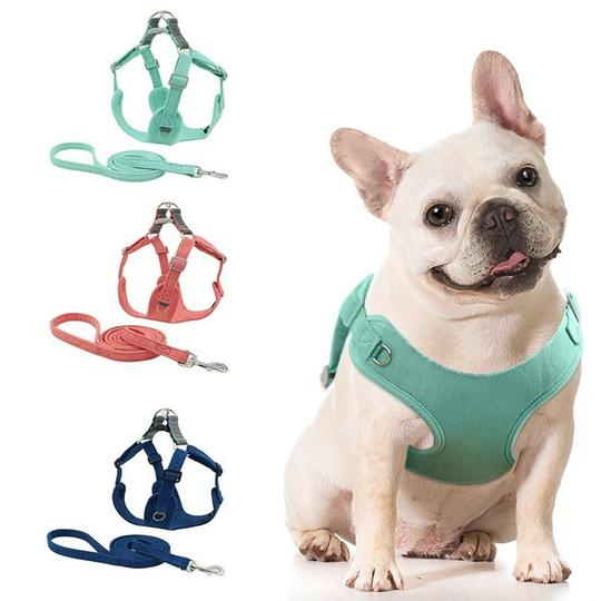 soft suede french bulldog harness